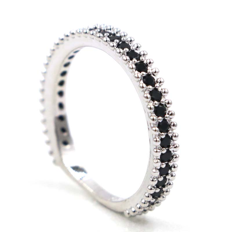 22x3mm SheCrown Pretty Black Sapphire Ladies Party Silver Ring in Rings from Jewelry Accessories