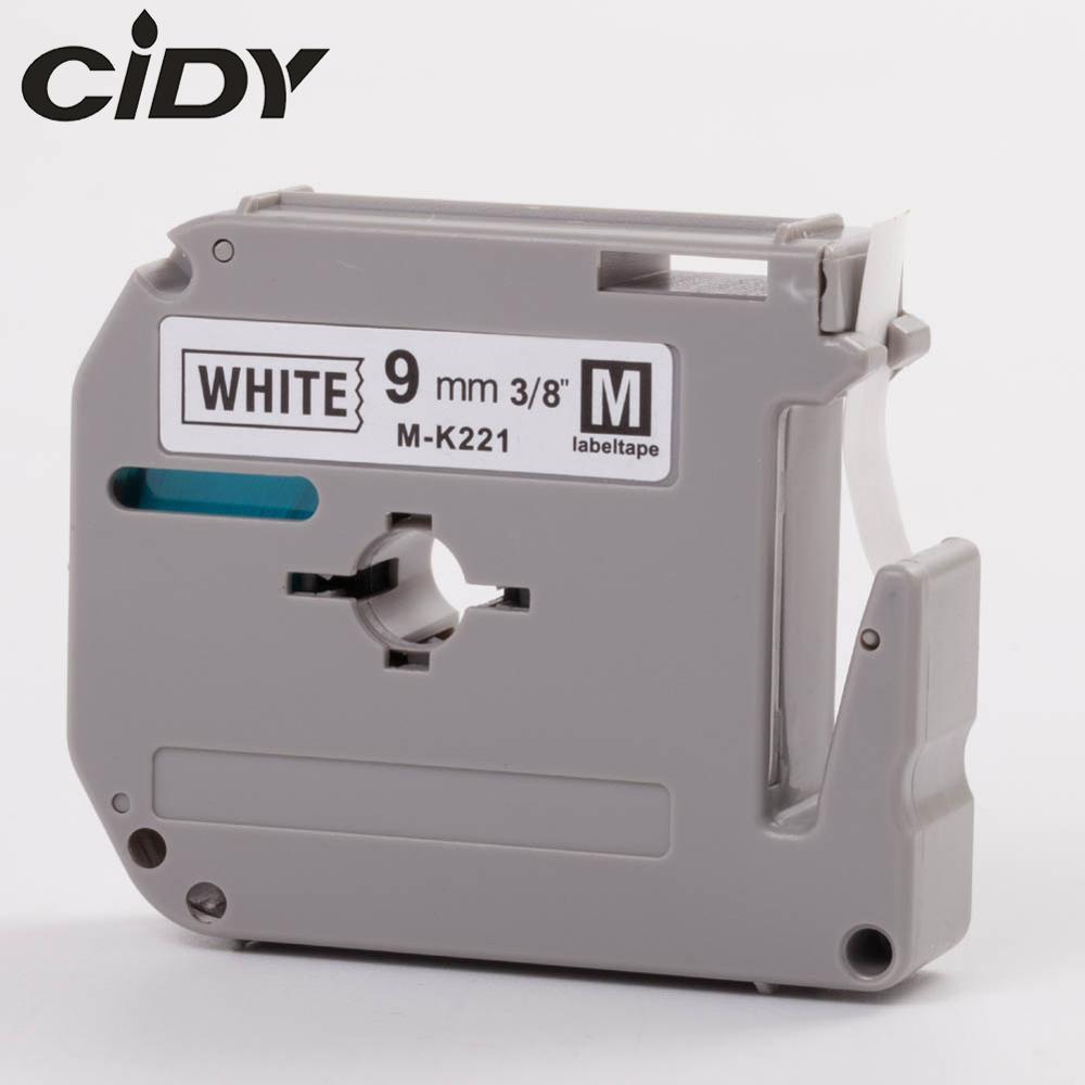 CIDY MK-221 Compatible Brother M-K221 MK221 MK 221 Black On White 9mm Strong Adhesive Label Tapes For PT-80 PT-70