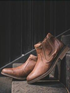 ZYYZYM Chelsea Boot Ankle Vintage-Style Autumn Botas Winter Hombre Short Footwear Man