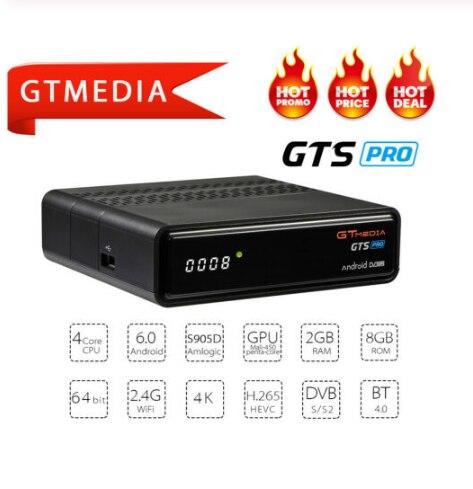 GTMEDIA newest GTS PRO2 Receptor Satelite Decodificador DVB S2 bluetooth smart tv box android 6.0 tv box iptv subscription ccam|Satellite TV Receiver| |  - title=