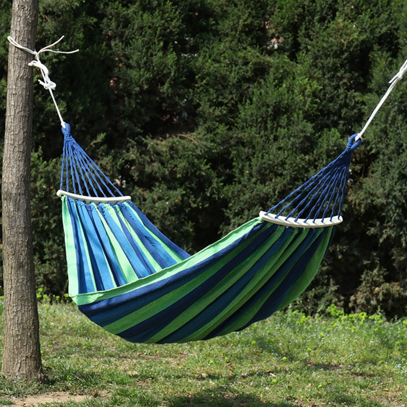 Canvas Hammock Outdoors Swing Ice Silk Screen Shape Wood Stick Adult Children Defence Side Search Room Domestic Home Hammock