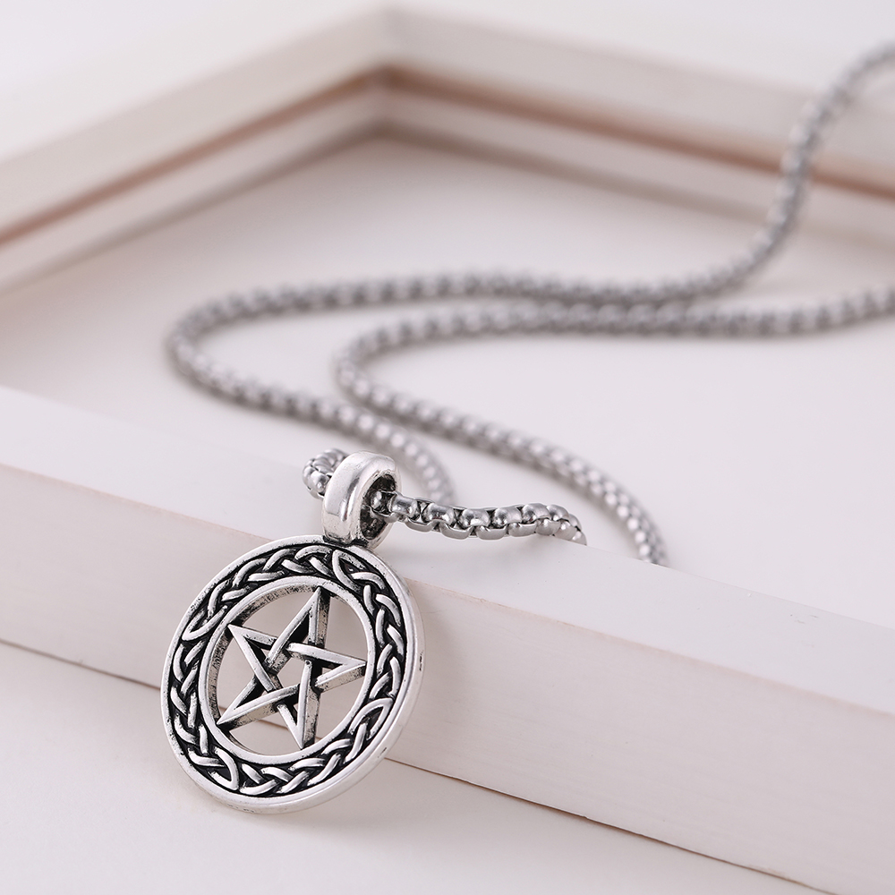 Lemegeton Hollow Pentagram Round Pendant Necklace Viking Celtic Knotwork Jewelry for Men