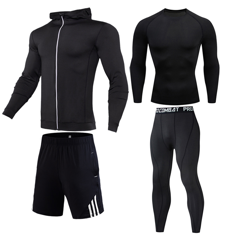 Compression Shirt Men's 4 Piece Suit Outdoor Sports Sets Gym Clothing Quick Drying Men Thermal Underwear Winter Jogging Suit 4XL