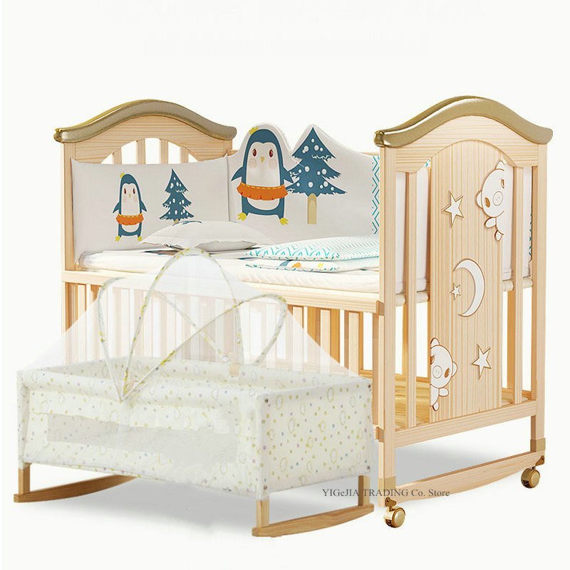 Wood Baby Crib With Inner Cradle, No Paint Pine Wood Baby Bed, Rocking Bed, Bed Size 106*62*102cm, Small Cradle Size 84*45cm