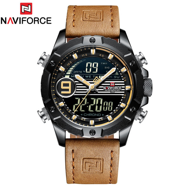 Luxury Brand Mens Sport Watches Men Quartz LED Digital Clock Male Military Waterproof Leather Watch Relogio Masculino NAVIFORCE | Fotoflaco.net