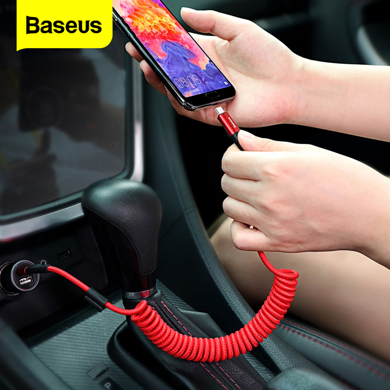 Baseus Spring USB Type C Cable For Huawei Mate 20 Pro Xiaomi Mix 3 One Plus 6t 6 5 Storage Flexible 2A Fast Charging USB C Cable|Mobile Phone Cables|   - AliExpress