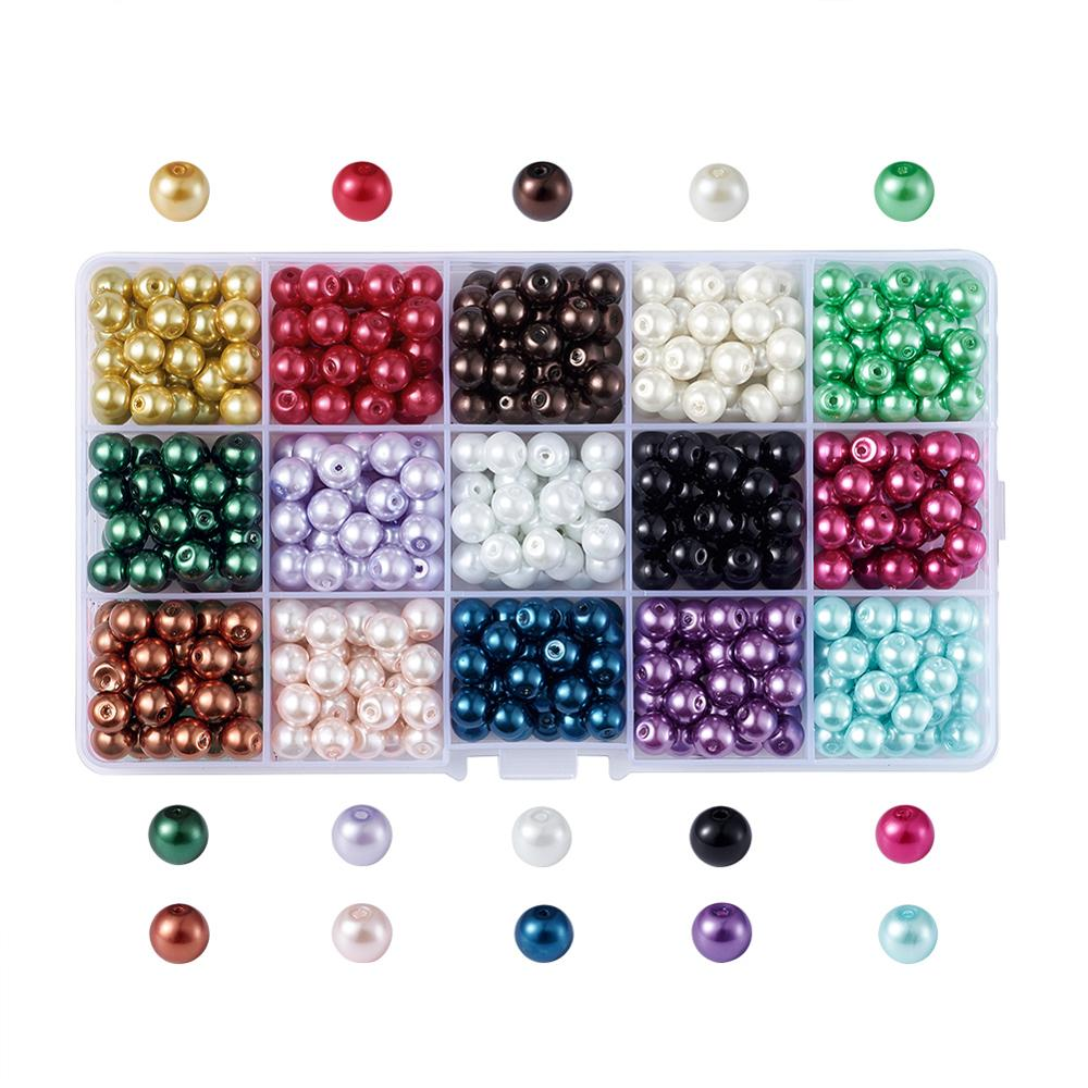 Mixed Color Round Glass Pearl Beads for Necklaces Earrings Bracelets Jewelry Making DIY Accessories Pearlized 4mm 6mm 8mm 10mm(China)