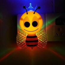 Renkli gece lambası karikatür LED gece lambası sensörü güzel sevimli duvar lambası bebek çocuk ev yatak odası dekoru