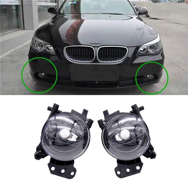 JIUWAN Car Front Fog Lights Halogen Fog Light Assembly Lamps Housing Lens for BMW E60 E90 E63 E46 323i 325i 525i image