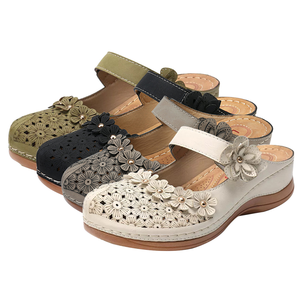 2020 Summer Women Sandals Handmade Ladies Shoes Leather Floral Sandals Women Flats Retro Style Shoes For Woman