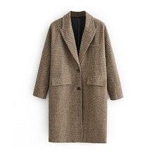 Winter Autumn Long Plaid Blazer Feminino mujer 2019 vintage Fashion women blazers jackets t