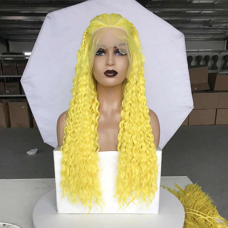 Rongduoyi longo 13x6 perucas sintéticas da parte dianteira do laço para as mulheres de alta temperatura fibra cabelo preto 500 peças tranças caixa trançado peruca do laço