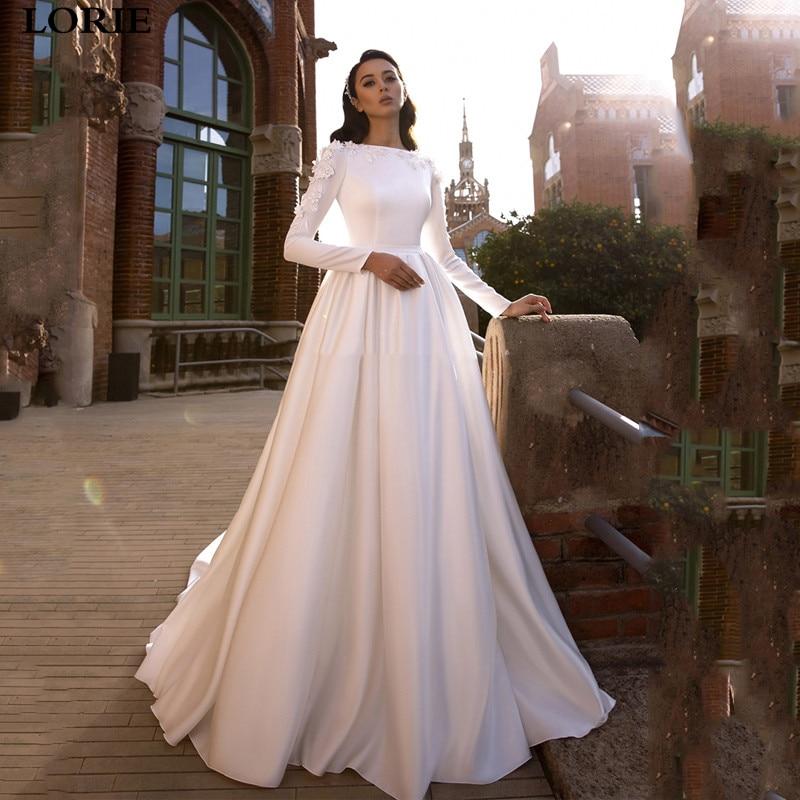 LORIE Satin Wedding Dresses 3D Flowers Lace Bride Gown Long Sleeve Muslim Wedding Gown Covered Back Vestido De Novia 2019