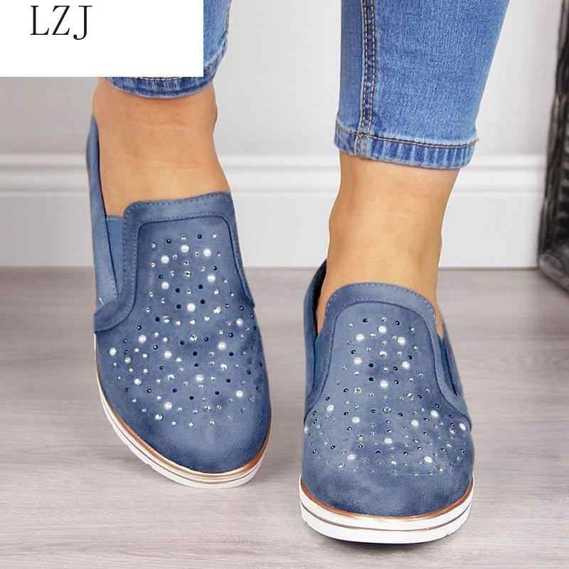 ผู้หญิงฤดูร้อน WEDGE ผ้าใบ 2019 ใหม่รองเท้าสบายๆสุภาพสตรีรองเท้าเดี่ยวรองเท้า Plus Size Breathable Rhinestone SLIP-ON รองเท้าแตะผู้หญิงปั๊ม