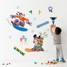 disney mickey goofy ski competition wall stickers for kids rooms bedroom home decor cartoon decals pvc mural art posters