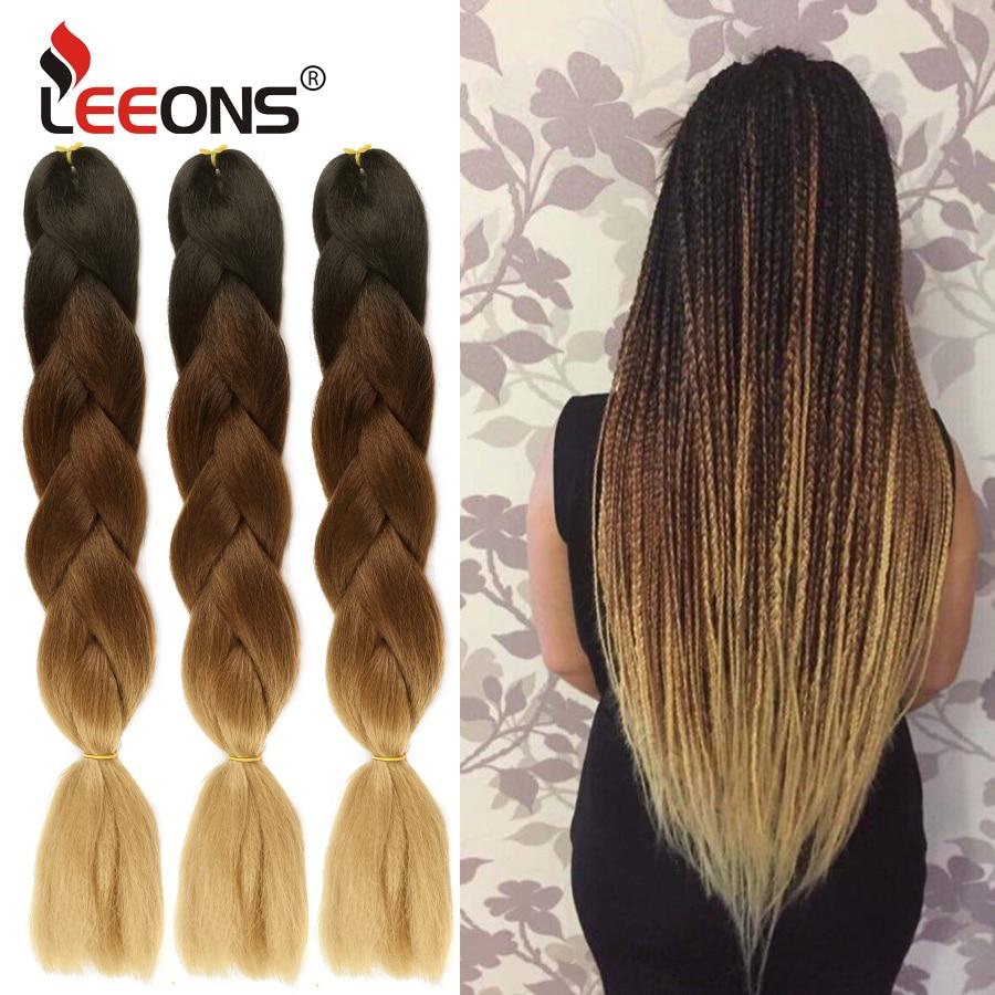 Leeons Cheap 24inch Kanikalon Ombre Crochet Braiding Hair Xpression 100g Jumbo Braids Synthetic Hair Box Braids Pink Blue Brown