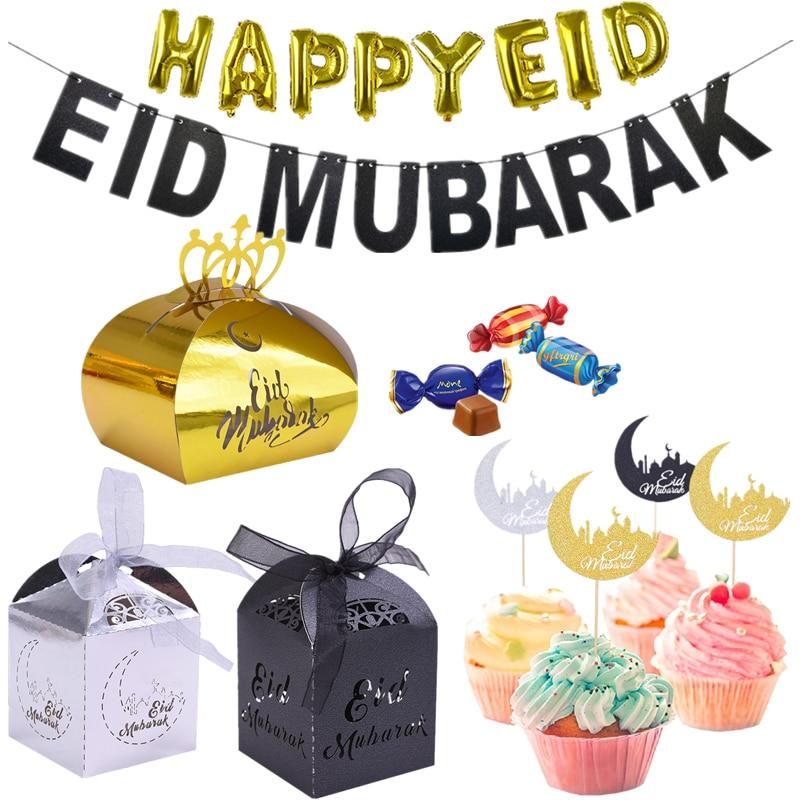 10/20pcs Happy Eid Mubarak Gold Silver Black Candy Paper Box Ramadan Dessert Cake Topper Islamic Muslim Eid Party Decor Supplies