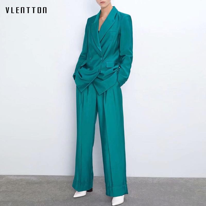 Autumn Elegant Pants Suit Women Double Breasted Long Office Lady Blazer Jacket Coat+High Waist Female Trouser Two Pieces Set