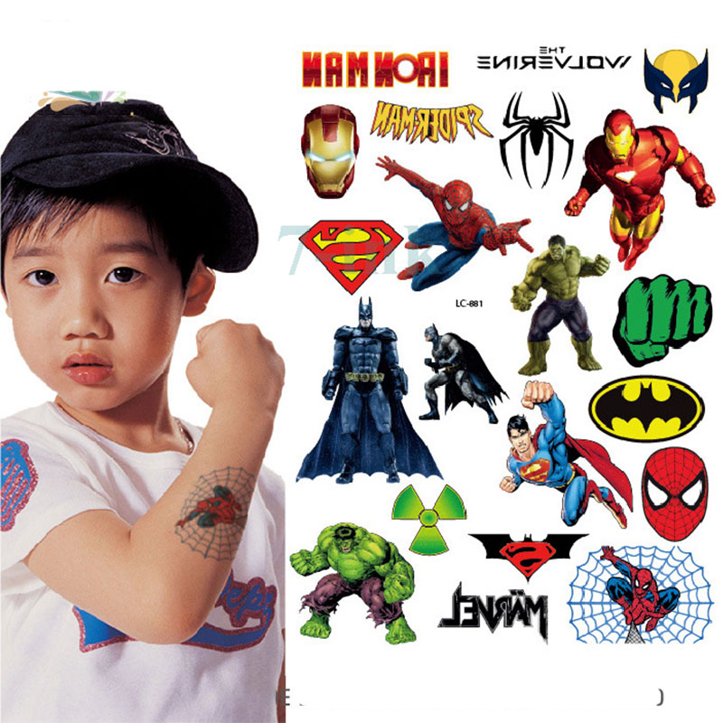 Waterproof Temporary Tattoo  Cartoon Super Man Water Transfer Flash Tatto Fake Tattoo For Kids Boys