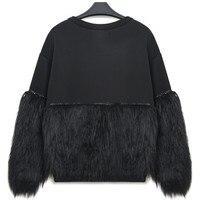 New Hot Sale Fashion Autumn Winter Women Hoodies Sweatshirt Thickened Fur Spliced With Rhinestone New Streetwear Ss123