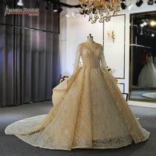 Długie rękawy luksusowe libańskie wesela sukienka Oman ślub