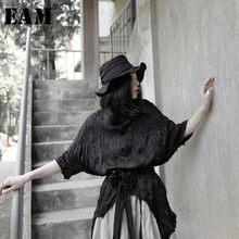 EAM – T-shirt manches mi-longues à col rond pour femme, vêtement noir plissé, irrégulier, fendu, grande taille, tendance, printemps été 2021, 1W318