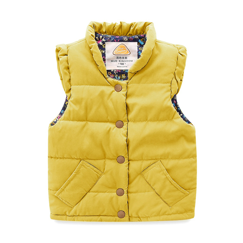 Mudkingdom Girls Vest Stand Collar Solid Sleeveless Jacket Girls Vests Winter Baby Waistcoat Kids Gilet Fille Coats 5