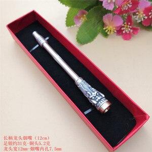Image 5 - Xianglong sac à cigarettes en argent pur étui à cigarettes avec élément filtrant, robinet de Cigarette bijoux en argent 999, Pipe, pour hommes