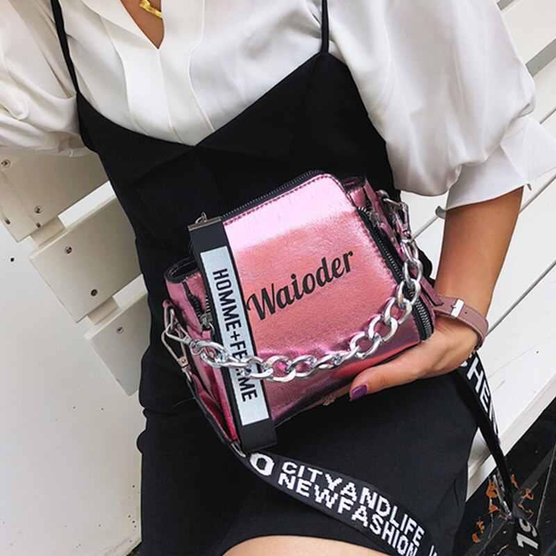 Heflashor Wanita Indah Tas Selempang INS Populer Wanita Tas Liburan PU Messenger Tas Laser Wanita Surat Tas Bahu