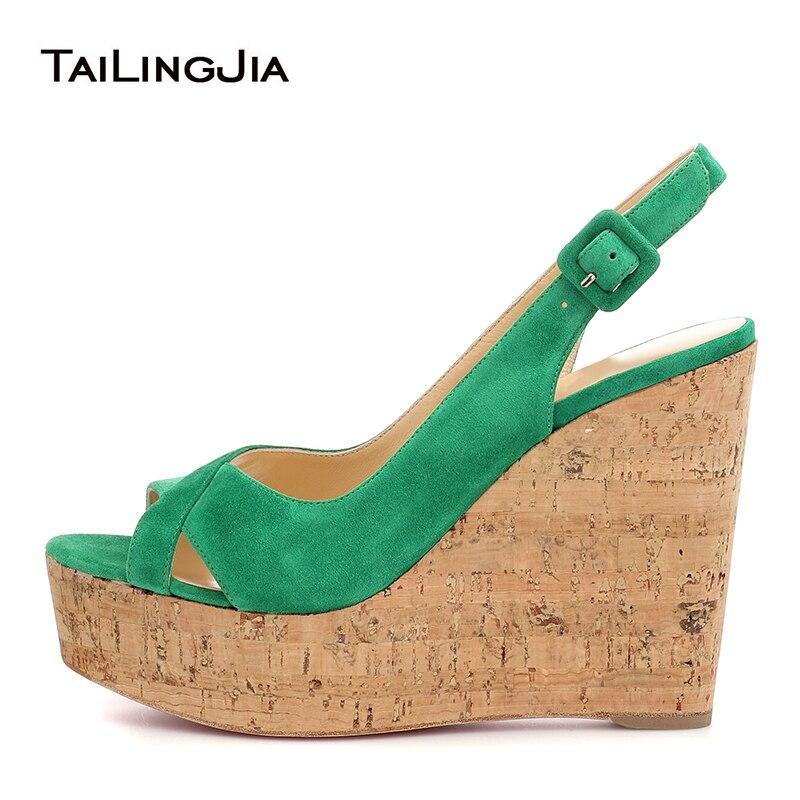 Wedge Shoes For Women Green Platform Woman Sandals 2020 Ladies High Heels Pink White Peep Toe Slingback Wedding Wedges Big Size