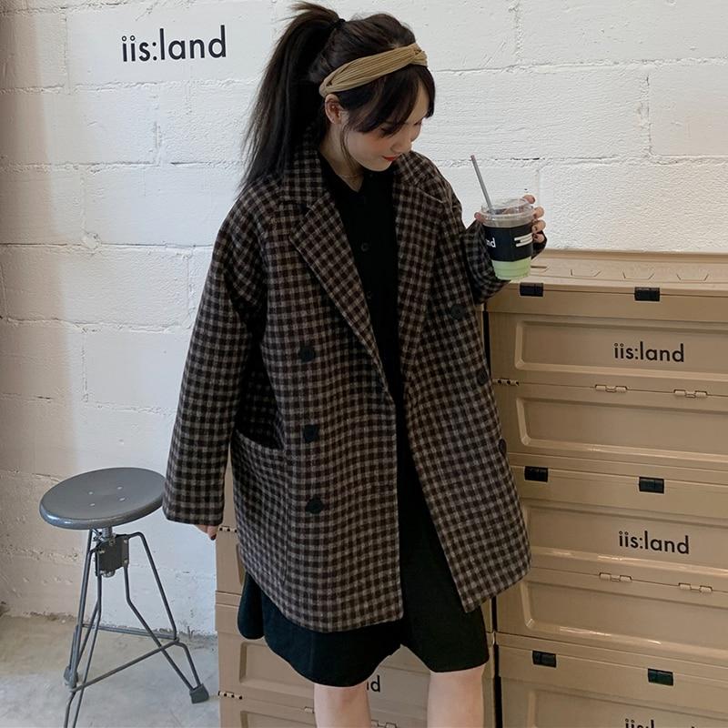 Retro Korean Plaid Ladies Blazer Black Loose Casual Simple Suit Jacket Stylish  Blazer Noir Femme Women's Clothing New MM60NXZ