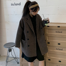 Retro Korean Plaid Ladies Blazer Black Loose Casual Simple Suit Jacket Stylish  Blazer Noir Femme Women's Clothing New MM60NXZ