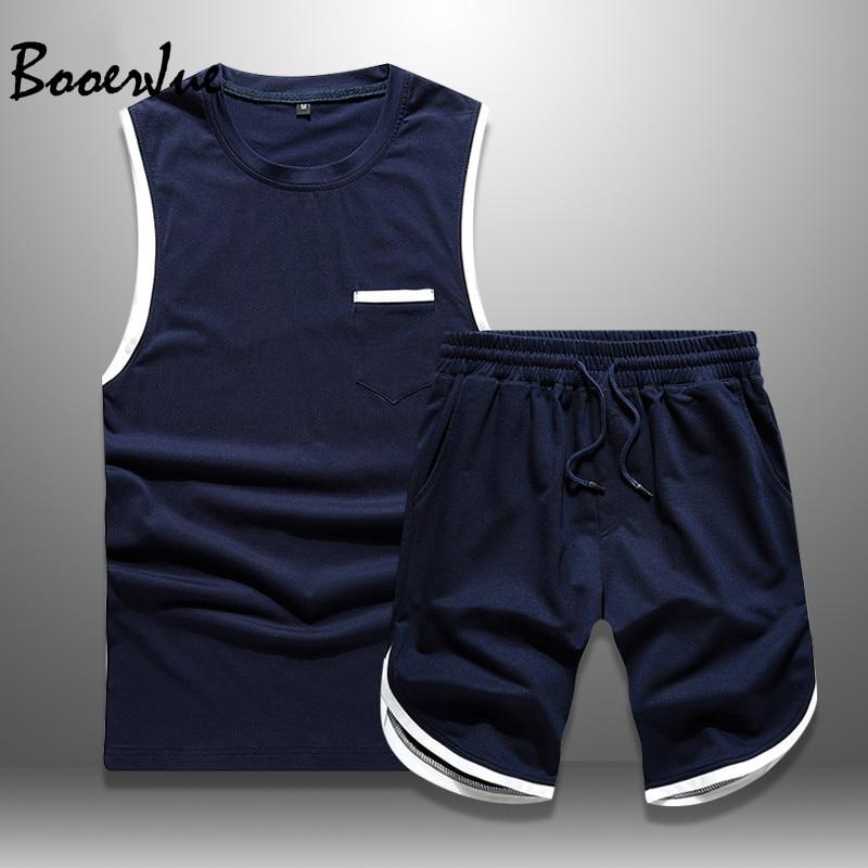 2020 Summer Short Set Men Casual Tracksuit Sleeveless Sports Suit Men's Sportswear T Shirts + Shorts 2 Piece Set Sweatsuit Men