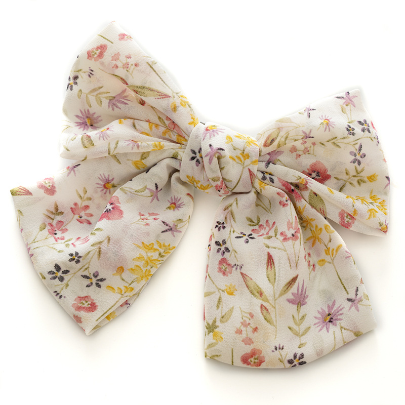 Vintage Fashion Chiffon Bow Hairpin Korean Headdress Ponytail Clip Simple Lady Head Flower Spring Hairpin Gift