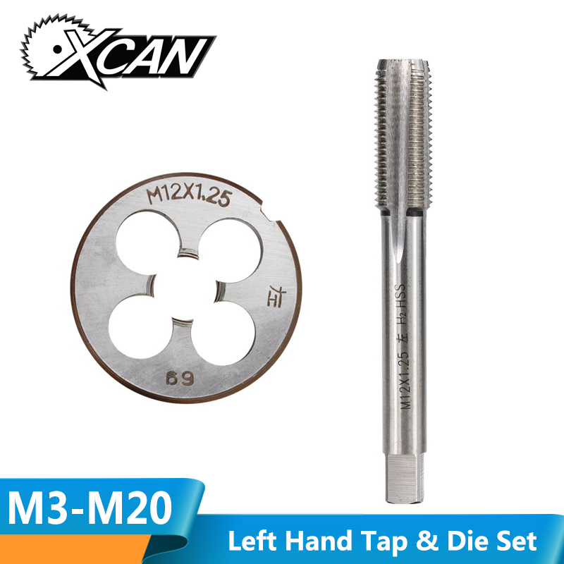XCAN 2pcs M3 M6 M8 M10 M12 M14 M16 M18 M20 Left Hand Machine Tap And Die Set Metric Screw Thread Tap Drill Machine Plug Tap Die