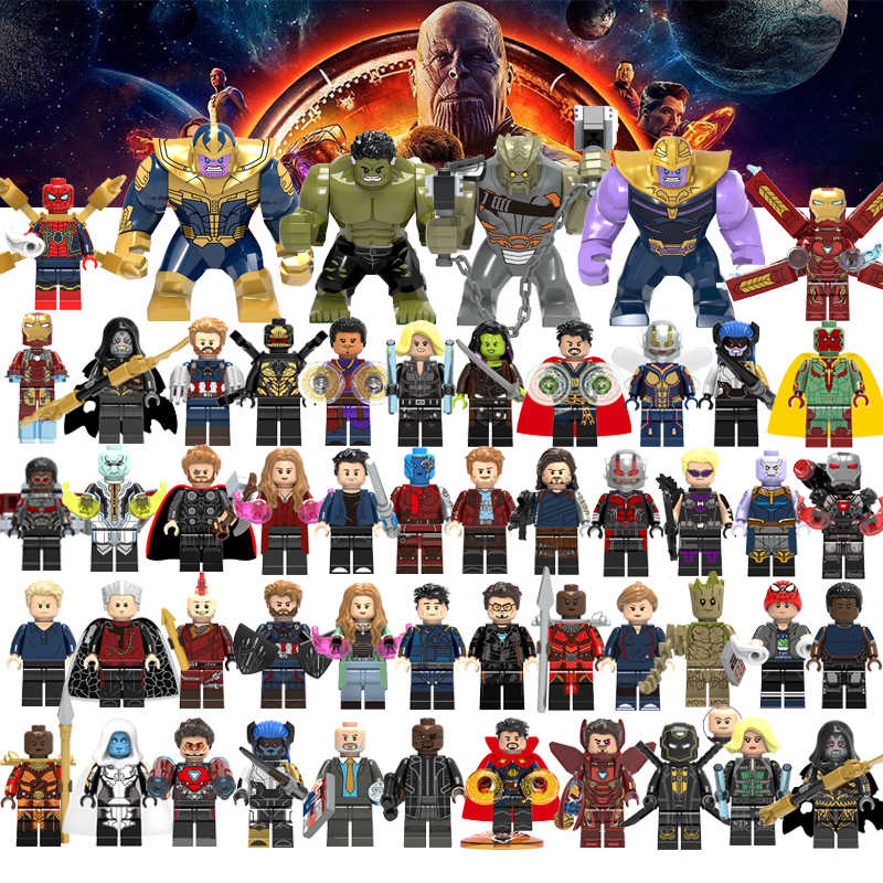 ขายเดียว Super Heroes Legoelys Avengers Captain Marvel ANT Man Thanos WASP Ninjia Building Blocks Hulk Black Panther ของเล่น