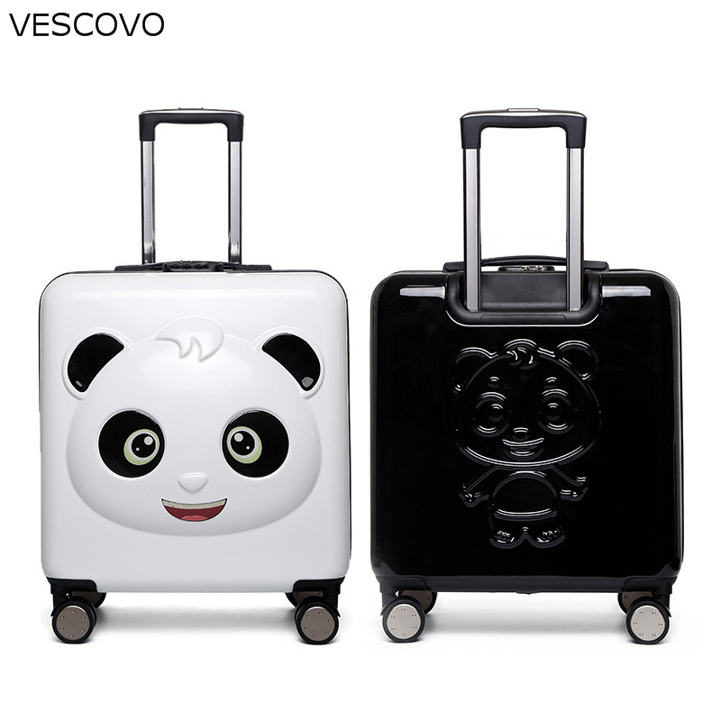 VESCOVO 20 Inch Cartoon Trolley Case For Kids Panda Pattern Children Cute Travel Suitcase Boarding Password Luggage