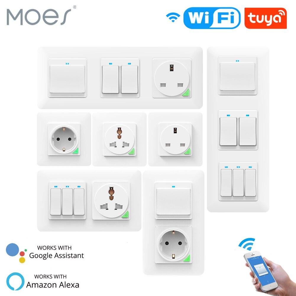 WiFi смарт-светильник, настенный выключатель, розетка, кнопка включения DE EU Smart Life Tuya, беспроводной пульт дистанционного управления, работа с ...
