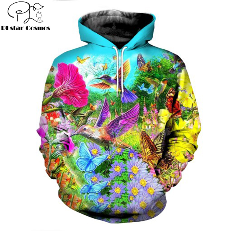 3D Printed Hummingbird Garden Hoodie and Sweatshirt Parrot Harajuku Fashion Men hoodies Unisex Casual Jacket pullover DW0007