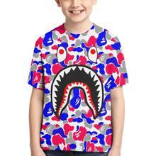 Bape Haai Korte Mouwen T-shirt Mannen Basic Tieners Xs