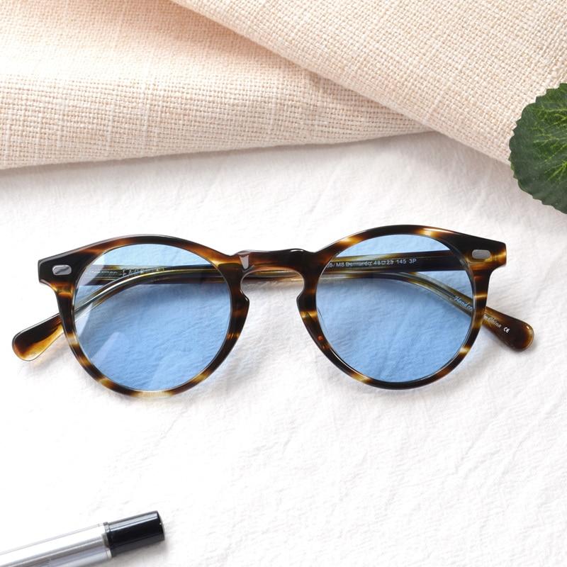 ERD Round handmade Acetate Retro polarized Sunglasses Frames For Men Women Summer Fashion Eyeglasses Vintage Glasses