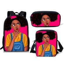 NOISYDESIGNS 3pcs Kids School Bags Black Girl Magic Afro Lady Printing Children Backpack Teenager Mochila Escolar Plecak Szkolny
