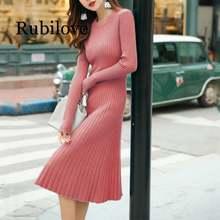 Женское вязаное платье свитер элегантное облегающее плиссированное