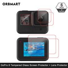 Temperli cam ekran koruyucu GoPro Hero 8 siyah Lens koruma koruyucu film için Gopro8 git pro 8 kamera aksesuarları