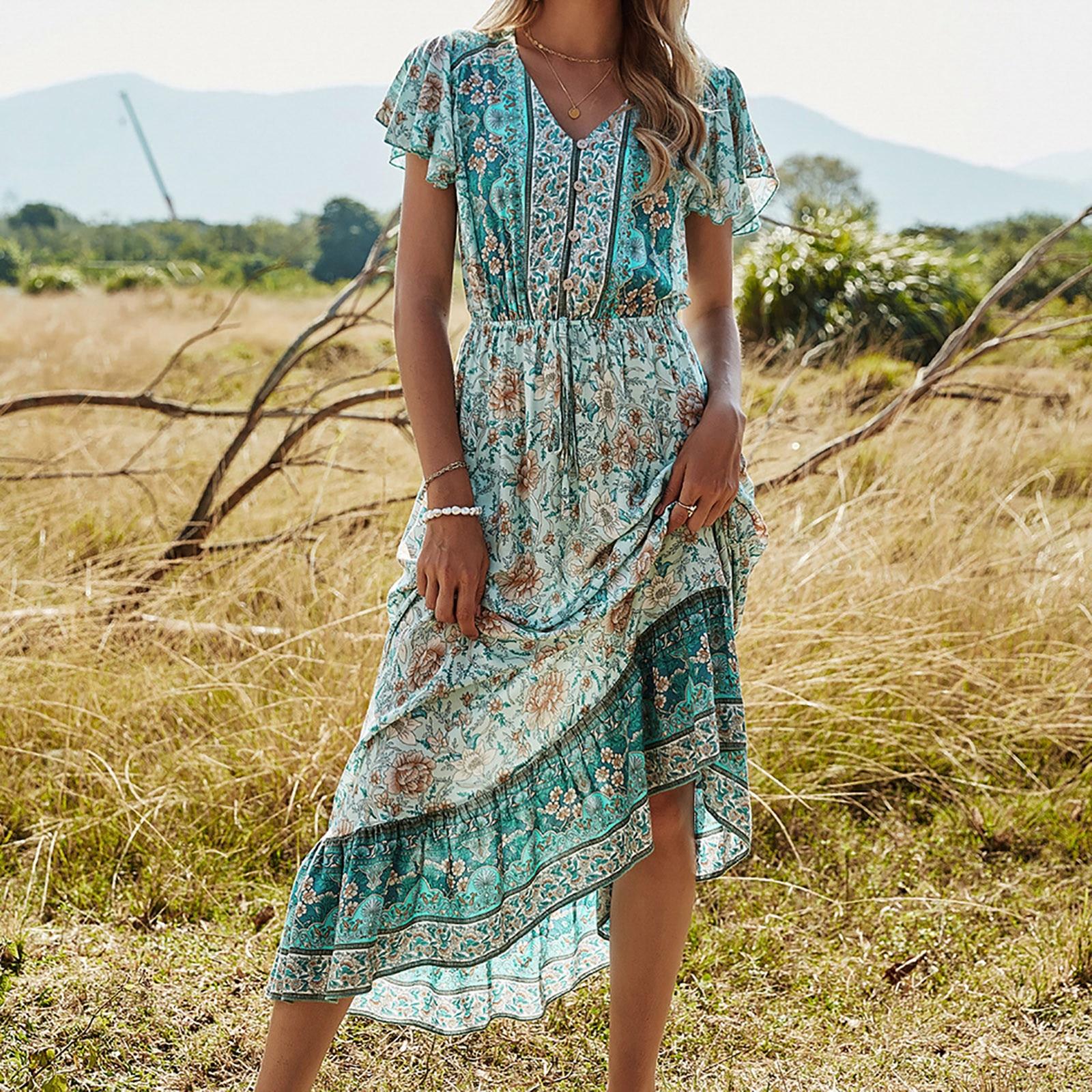 Women Summer Maxi Dress Boho Flowers Print Button Down Flare Sleeve Loose Dress Casual Dresses Woman Party Night Beach Dresses|Dresses| - AliExpress