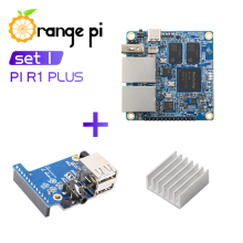 Orange Pi R1 Plus+Expansion Board+Aluminum Heat Sink, Router SBC OpenWRT with Dual GbE,Run Android 9/Ubuntu/Debian OS
