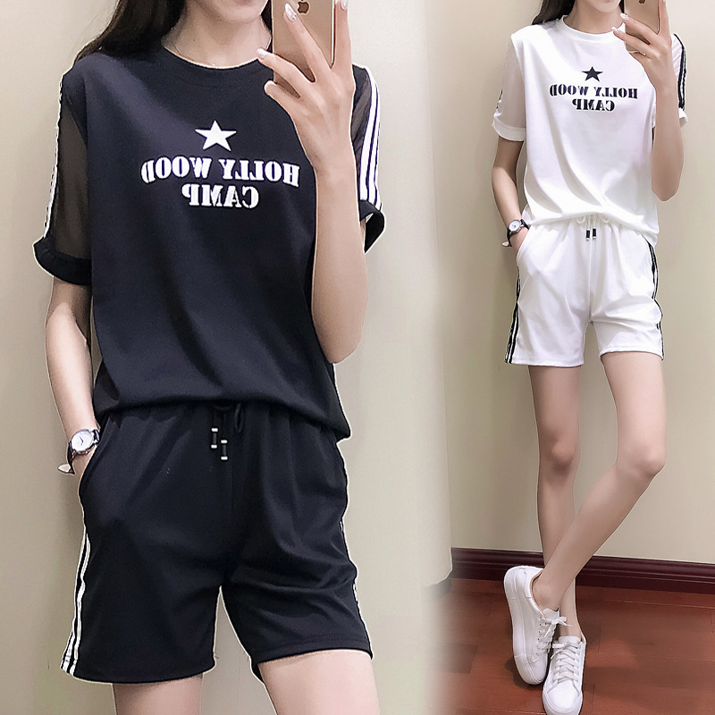 Summer Day Thin WOMEN'S Suit Korean-style Loose Short Sleeve Printed Lettered Gauze Joint Star Fashion Casual Sportswear