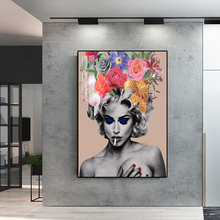 Sexy Smoking Nude Girl with Flowers Abstract Portrait Posters and Prints Canvas Painting Wall Pictures for Living Room Cuadros