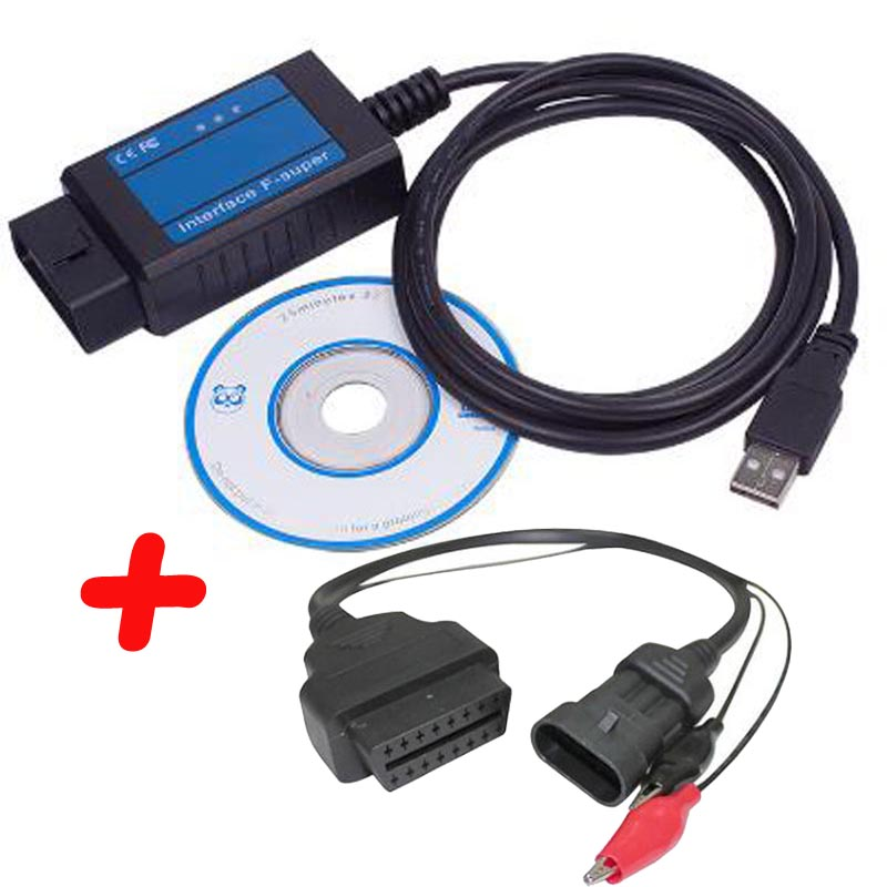 Professional For Fiat Scanner OBD/ OBD2 For Fiat F-Super Interface Usb Scan Tool For Fiat/Alfa Romeo/Lancia With 3 Pin