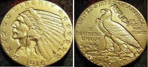 $5 золотой индийский полуорел 1916-S копии монет